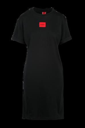 Black Cotton Tee Dress with Red Logo Label HUGO
