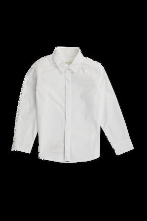 גילאי 8-12 חולצת כפתורים קלאסית עם דיטייל לוגו בדש FENDI KIDS