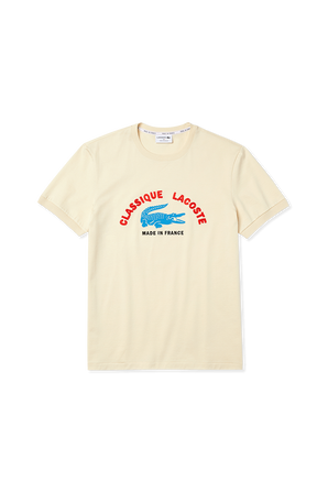 France Embroidered T-Shirt in Beige LACOSTE