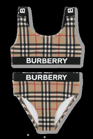 גילאי 3-14 בגד ים ביקיני עם גומי לוגו בשחור BURBERRY