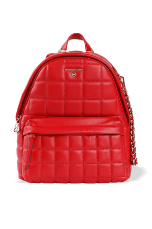 Slater MD Quilted Leather Backpack in Red MICHAEL KORS