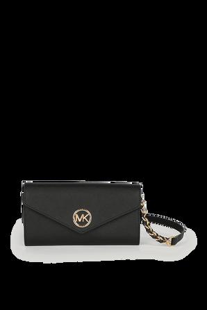 Carmen LG Crossbody Wallet in Black Leather MICHAEL KORS