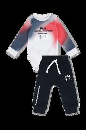 גילאי ניו בורן-12 חודשים סט ארוך מכנסיים וחולצה בגווני שחור כחול ואדום FILA
