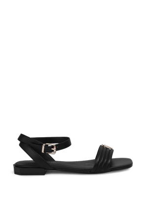Padded Leather Sandals In Black TOMMY HILFIGER