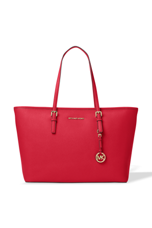 Jet Set MD Leather Top Zip Tote Bag in Red MICHAEL KORS