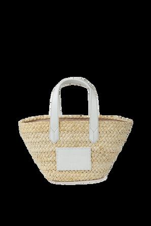 Small Straw Shopping Bag with White EMPORIO ARMANI