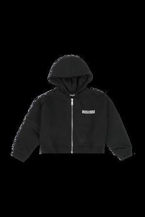 גילאי 4-16 סווטשירט מרוכסן בשחור עם לוגו גדול בגב DSQUARED2 KIDS