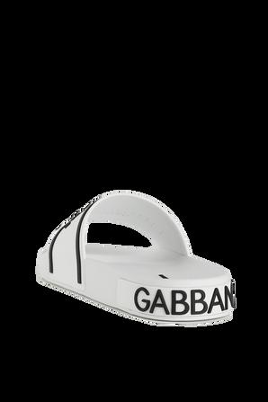 Crown Logo Slides in White and Black DOLCE & GABBANA