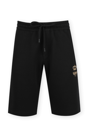 Jogging Shorts With Embroidery in Black DOLCE & GABBANA