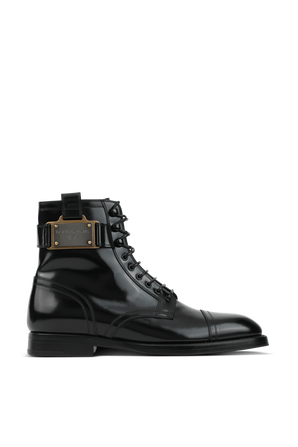 Brushed Black Leather Boots With Branded Plate DOLCE & GABBANA