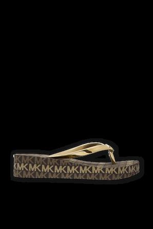 Logo Wedge Flip Flop In Gold MICHAEL KORS