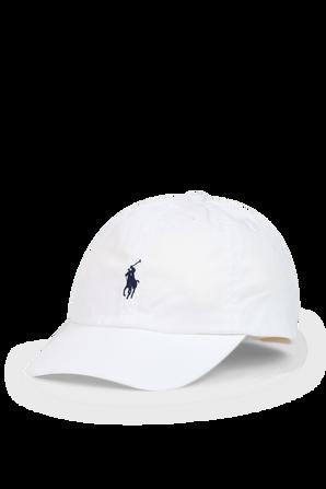 כובע בייסבול בלבן עם רקמת פרש POLO RALPH LAUREN KIDS