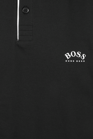 Slim-Fit Polo Shirt With Curved Logo in Black BOSS
