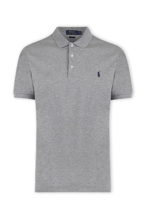 Slim Fit Stretch Mesh Polo Shirt in Grey POLO RALPH LAUREN