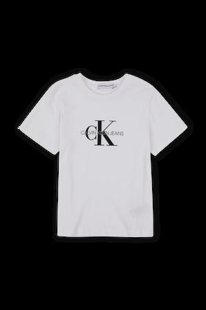 גילאי 4-16 חולצת טי לוגו אייקונית בלבן CALVIN KLEIN