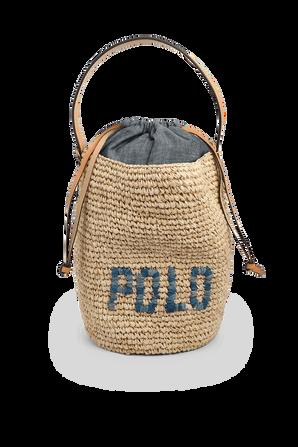 Polo Raffia Bucket Shoulder Bag POLO RALPH LAUREN