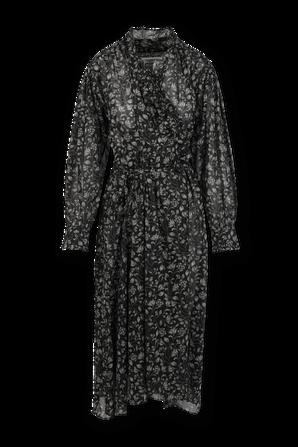 Maelys Flower Print Midi Dress in Black ISABEL MARANT