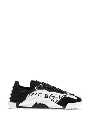 Canvas NS1 Sip-On Patch Sneakers in Black and White DOLCE & GABBANA