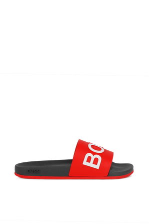 Logo slides with monogram-embossed in Red BOSS