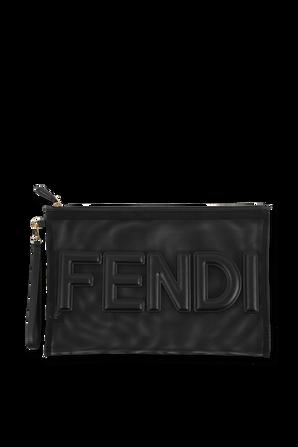 Flat Black Micro Mesh Logo Pouch FENDI