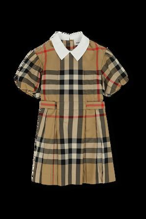 גילאי 3-14 שמלת משבצות עם צווארון מודגש BURBERRY