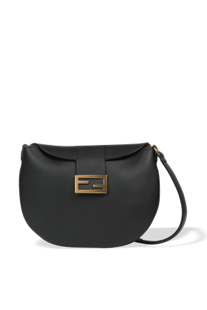 Croissant Shoulder Bag in Black Leather FENDI