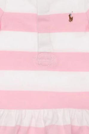גילאי 3-9 חודשים מארז שמלה, כובע ודובי בגווני ורוד ולבן POLO RALPH LAUREN KIDS
