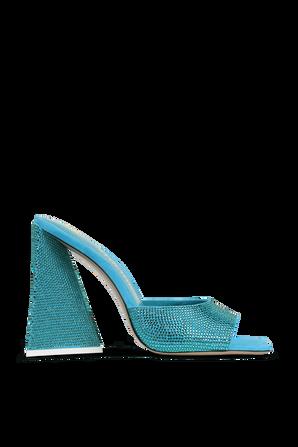 SUPERATTICO- נעלי עקב דבון בגוון טורקיז משובץ אבנים THE ATTICO