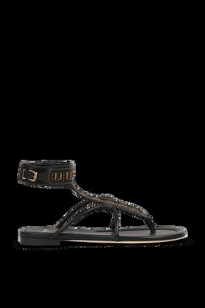 FF Woven Strap Sandals in Black FENDI