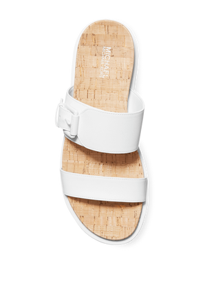 White Leather Sandals  MICHAEL KORS