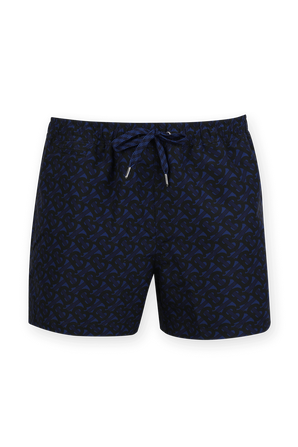 Monogram Print Drawcord Swim Shorts in Dark Blue BURBERRY