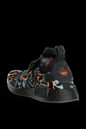 NMD R1 Primeknit Shoes in Black Multi ADIDAS ORIGINALS