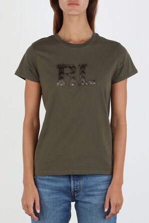Beaded Logo T-Shirt in Green POLO RALPH LAUREN