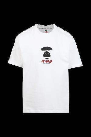 חולצה קצרה עם הדפס ממותג שחור ובורדו בגוון לבן AAPE