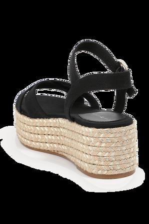 Signature Metallic Flatform Sandals In Black TOMMY HILFIGER