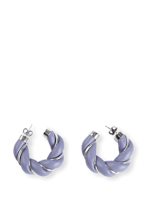 Twist Hoop Earrings in Purple Leather BOTTEGA VENETA