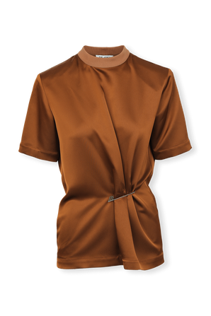 Asymetric Pin Shirt in Brown THE ATTICO
