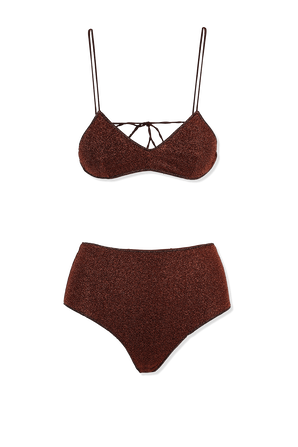 Lumiere High Waisted Bra and Bottom in Brown OSEREE