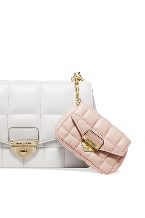 Soho Quilted Leather Bag Charm in Pink MICHAEL KORS