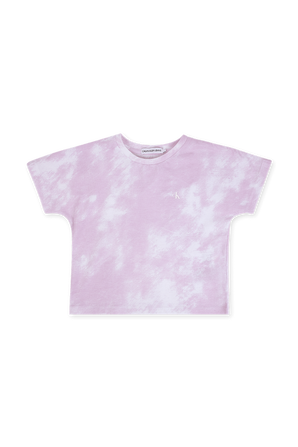 גילאי 4-16 חולצת טי בדפוס עננים סגול על רקע לבן CALVIN KLEIN