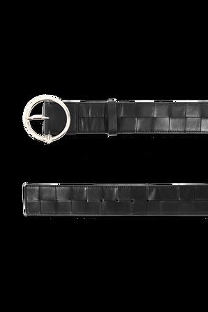 Woven Leather Monogram Belt in Black TOMMY HILFIGER