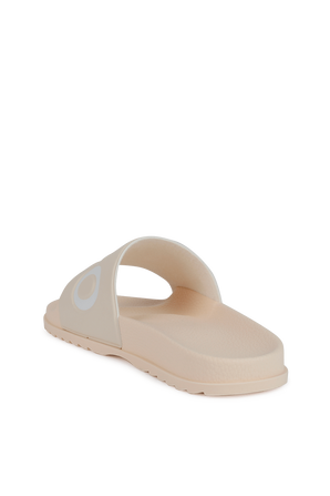 Slides With Contrast Logo in Cream HUGO