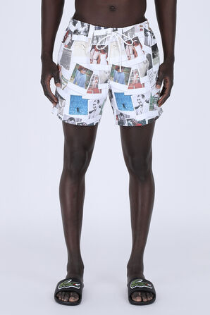 Unisex Lacoste LIVE x Polaroid Print Swimming Trunks In Green LACOSTE