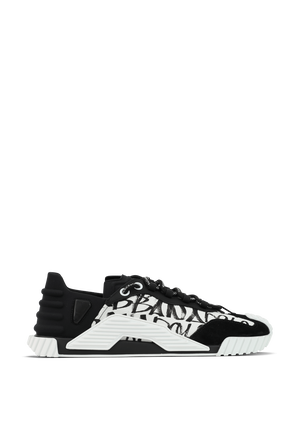 Mixed Material NS1 Sneakers in Black and White DOLCE & GABBANA