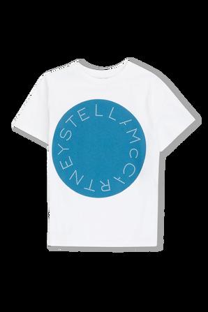 גילאי 2-14 חולצת לוגו דיסק בלבן וכחול STELLA McCARTNEY KIDS
