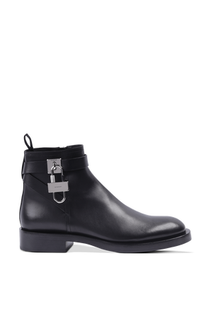 Black Leather Boots Whith Padlock GIVENCHY