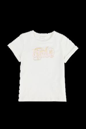 גילאי 6-12 חולצת טי לבנה עם הדפס פרחוני CHLOE KIDS