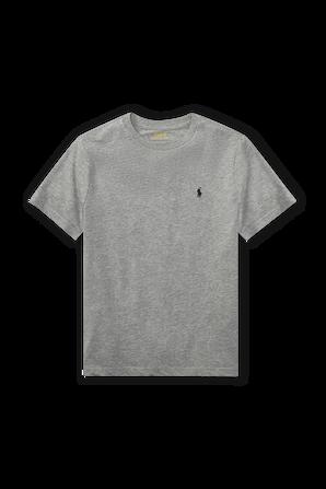 גילאי 8-18 חולצת טי באפור עם לוגו רקום POLO RALPH LAUREN KIDS