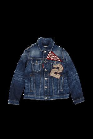 גילאי 4-16 ז'קט ג'ינס בשטיפה בינונית עם פאצ'ים ממותגים DSQUARED2 KIDS