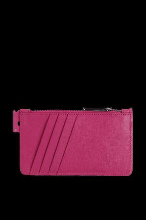 Logo Zip Card Holder in Pink OFF WHITE